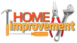 the words Home improvement with various tools around it