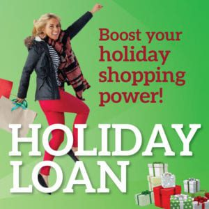 holiday loan advertisment image with woman jumping with shopping bags