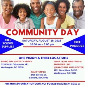 Flyer for the Community Day event in Washington DC on August 18, 2018