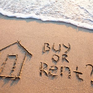 the words rent or buy written in sand on the beach