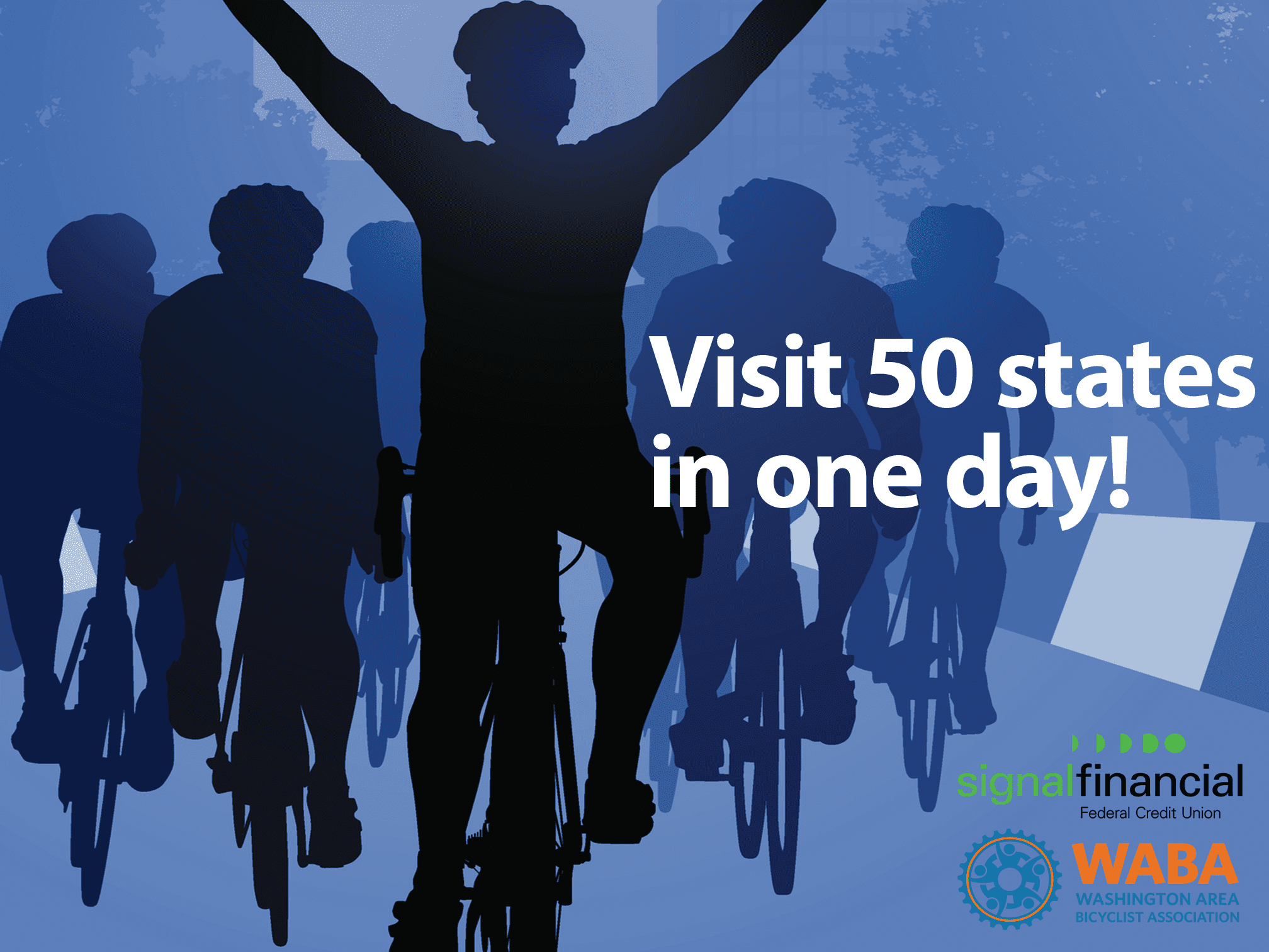 Visit 50 States in One Day graphic with people on bike and WABA logo